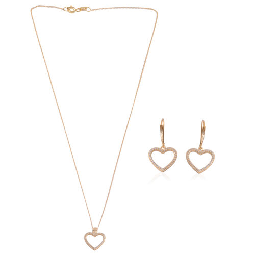 Brilliant Cut Simulated Diamond (Rnd) Heart Pendant with Chain (Size 18) and Lever Back Earrings in Yellow Gold Overlay Sterling Silver, Silver wt 3.00 Gms.