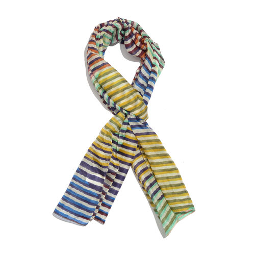 100% Mulberry Silk Blue, Yellow and Multi Colour Handscreen Stripes Printed Scarf (Size 170X50 Cm)