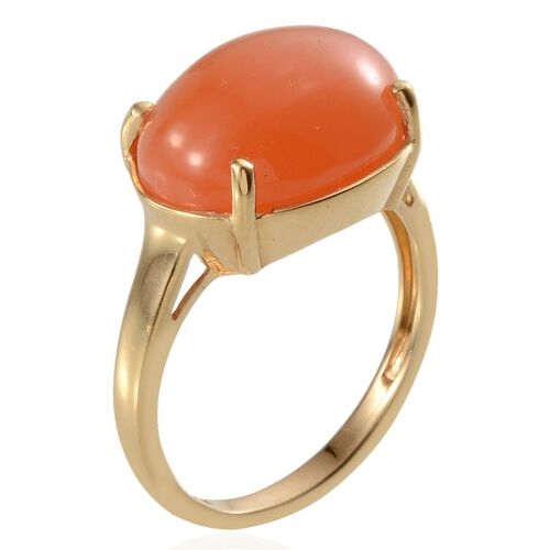 Mitiyagoda Peach Moonstone (Ovl) Solitaire Ring in 14K Gold Overlay Sterling Silver 9.500 Ct.