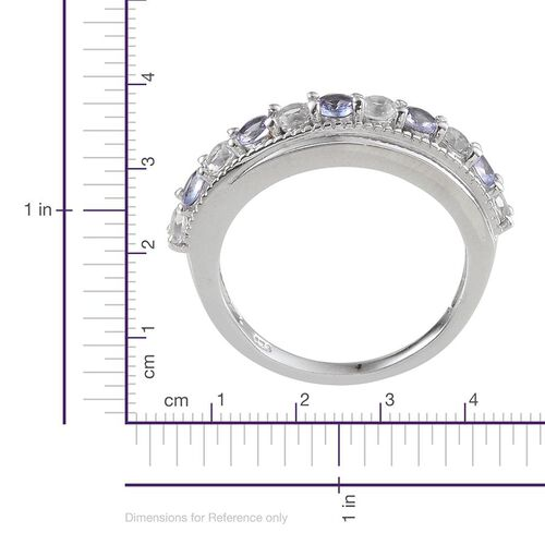Tanzanite (Rnd), White Topaz Ring in Platinum Overlay Sterling Silver 1.400 Ct.