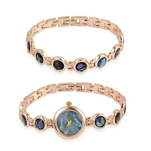 STRADA Japanese Movement Abalone Shell Studded Water Resistant Watch (Size 8.25) and Bracelet (Size 7.5 ) in Yellow Gold Tone 53.100 Ct.