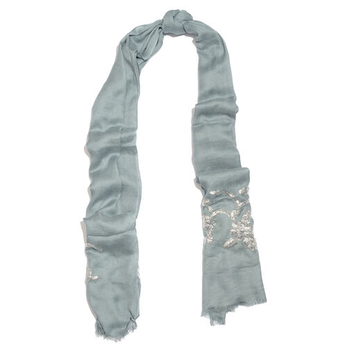 Hand Embellished Silver Sequin Blue Scarf (Size 180X70 Cm)