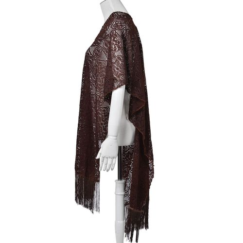 Floral Pattern Lace Design Chocolate Colour Shawl with Fringes (Size 100x80 Cm)