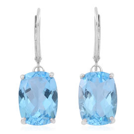 Limited Edition - AAA Electric Blue Topaz (Cush) Lever Back Earrings in Rhodium Plated Sterling Silver 15.000 Ct.
