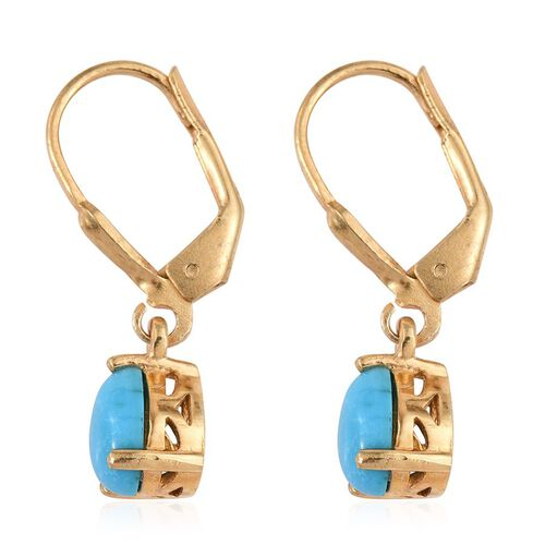 Arizona Sleeping Beauty Turquoise (Pear) Lever Back Earrings in 14K Gold Overlay Sterling Silver 1.500 Ct.