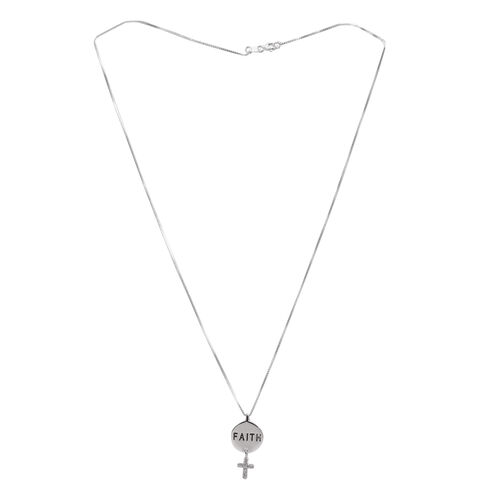 Close Out Deal Sterling Silver Faith Cross Pendant with Chain, Silver wt 3.08 Gms.