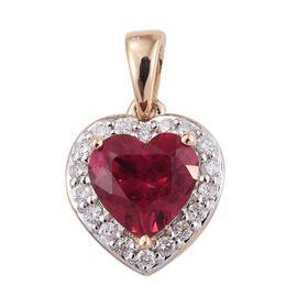 14K Yellow Gold 2 Carat AAA Ouro Fino Rubelite And Diamond (I3/G-H) Heart Pendant