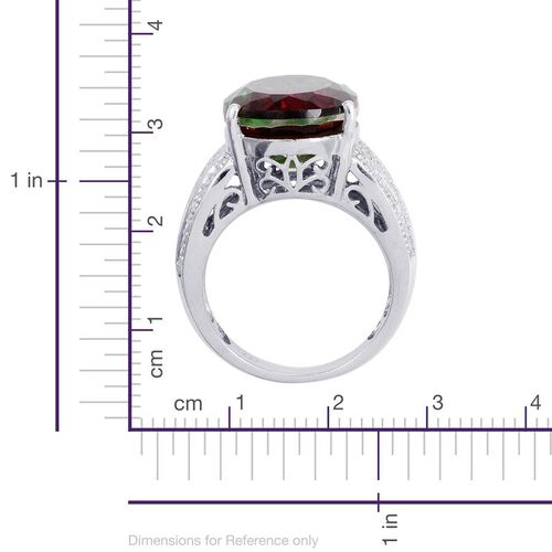 Tourmaline Colour Quartz (Ovl) Solitaire Ring in Platinum Overlay Sterling Silver 11.000 Ct.