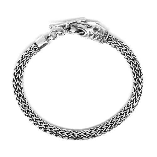 Thai Sterling Sterling Silver Panther Head Bracelet (Size 7.5), Silver wt 28.04 Gms.