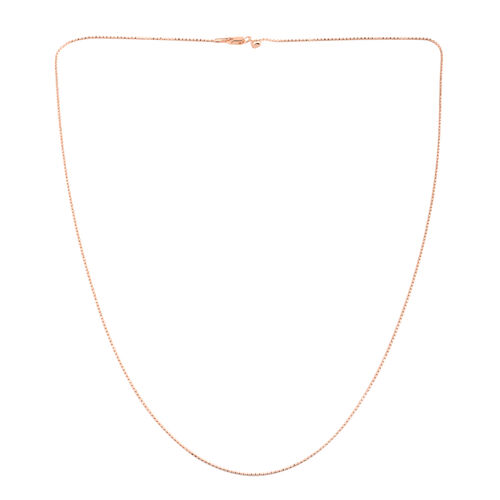 JCK Vegas Collection Rose Gold Overlay Sterling Silver Adjustable Diamond Cut Bead Chain (Size 24)
