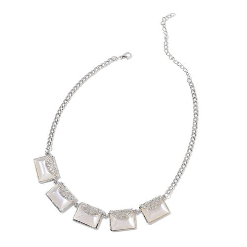 Simulated Cats Eye and White Austrian Crystal Clutch Bag Design BIB Necklace (Size 20 with 2 inch Extender) in Silver Tone