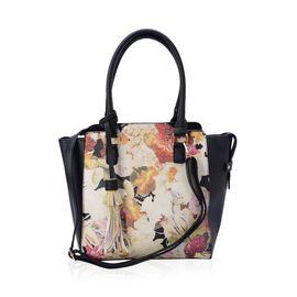 Linea Multi Colour Floral Pattern Black Colour Tote Bag with External Zipper Pocket and Adjustable and Removable Shoulder Strap (Size 40x31x10 Cm)