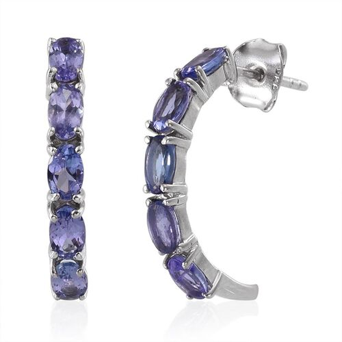 Tanzanite (Ovl) J Hoop Earrings (with Push Back) in Platinum Overlay Sterling Silver 2.250 Ct.