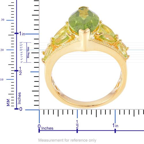 AAA Hebei Peridot (Mrq 4.25 Ct), Natural Cambodian Zircon Ring in Yellow Gold Overlay Sterling Silver 5.610 Ct.