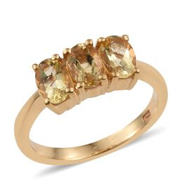 Marialite (Ovl) Trilogy Ring in 14K Gold Overlay Sterling Silver 1.250 Ct.