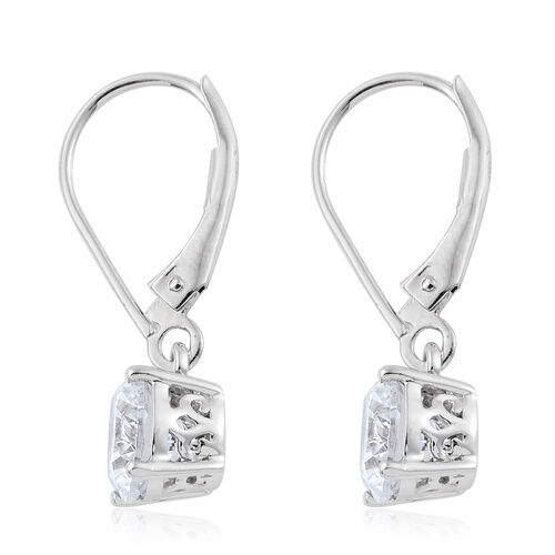 J Francis - 9K White Gold Lever Back Earrings Made with SWAROVSKI ZIRCONIA