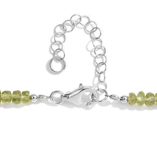 Natural Hebei Peridot (Rnd) Necklace (Size 18 with 2 inch Extender) in Rhodium Plated Sterling Silver 115.00 Ct.