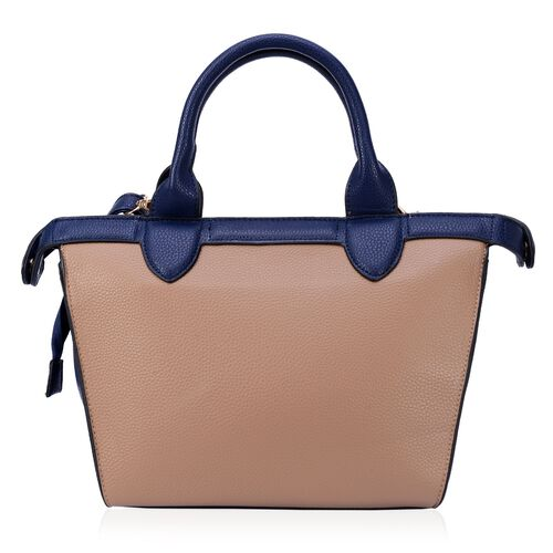 Blue Colour Top Handle Bag with Adjustable and Removable Shoulder Strap (Size 33x23x11 Cm)