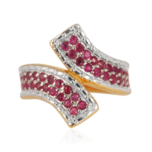 Burmese Ruby (Rnd) Crossover Ring in 14K Gold Overlay Sterling Silver 1.000 Ct.