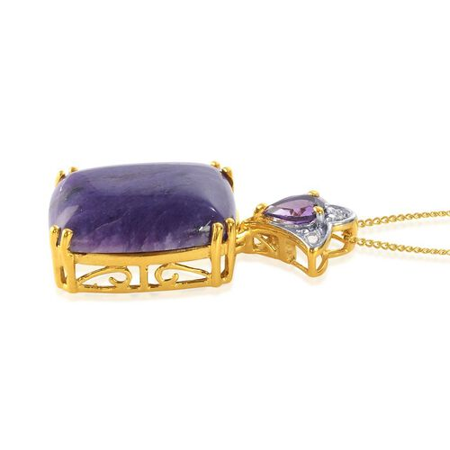 Russian Charoite (Cush 8.75 Ct), Zambian Amethyst and Diamond Pendant With Chain in 14K Gold Overlay Sterling Silver 9.150 Ct.