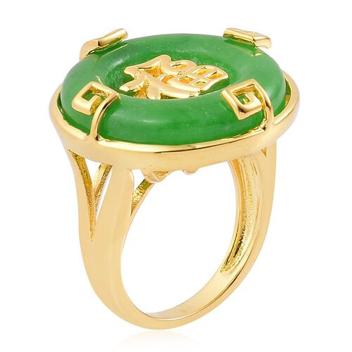 Chinese Green Jade (Rnd) Chinese Character FU (Happiness) Ring in Yellow Gold Overlay Sterling Silver 12.750 Ct.