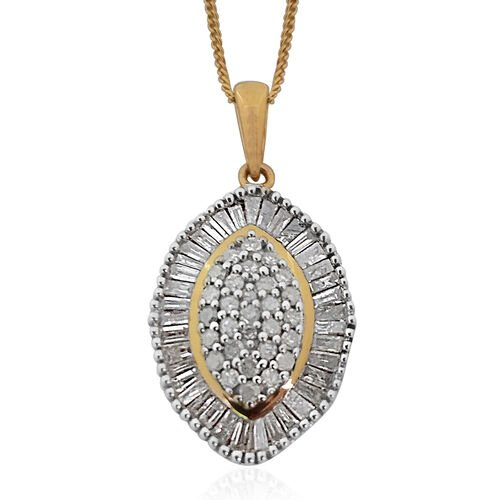Limited Edition Diamond (Rnd) Pendant With Chain in Platinum and 14K Gold Overlay Sterling Silver 1.000 Ct.