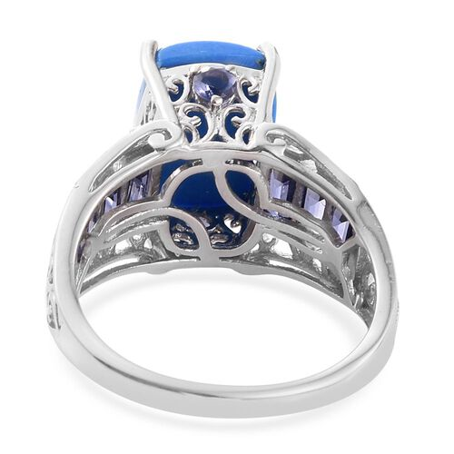 Ceruleite (Cush 5.25 Ct), Iolite Ring in Platinum Overlay Sterling Silver 6.925 Ct.