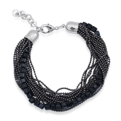 Handmade 19 Strand, Multi layer Diamond Cut Black Beaded Chain and Cubical Glass Bracelet