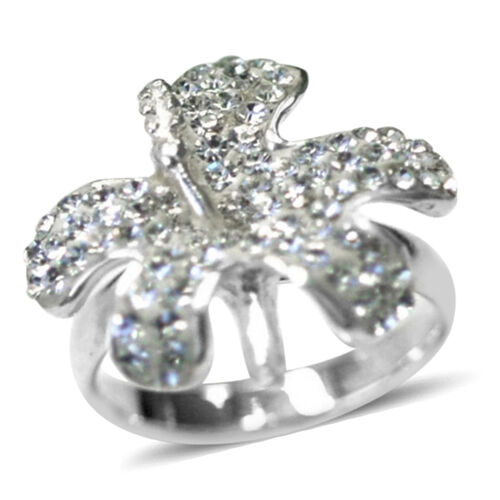 White Austrian Crystal (Rnd) Ring in Sterling Silver