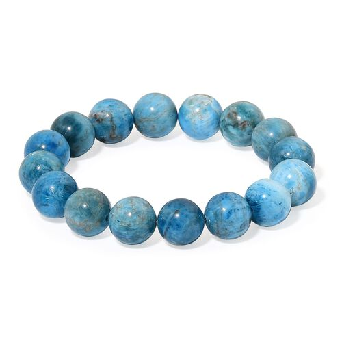 Limited Edition- Blue Apatite Round Bead Stretchable Bracelet (Size 6.5-9) 218.00 Ct.