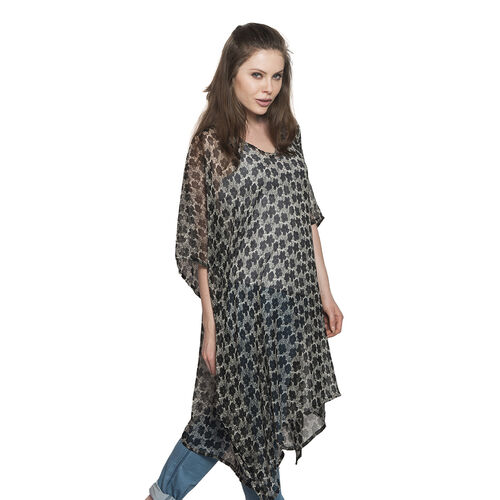 Floral Pattern Black and Grey Colour V-Neck Kaftan (Free Size)