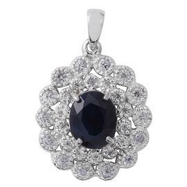 Kanchanaburi Blue Sapphire (Ovl 4.41 Ct), Natural Cambodian White Zircon Pendant in Rhodium Overlay Sterling Silver 7.490 Ct.