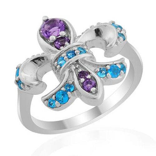 Amethyst (Rnd), Malgache Neon Apatite Ring in Platinum Overlay Sterling Silver 0.600 Ct.