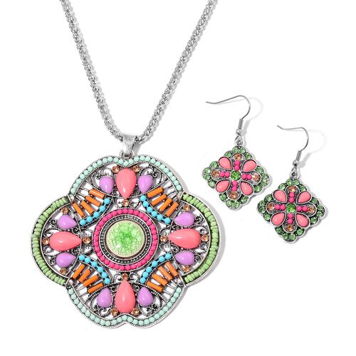 Simulated Aventurine, Simulated Multi Gem Stone, Green and Champagne Austrian Crystal Primrose Flower Pendant With Chain (Size 28) and Hook Earrings in Silver Tone