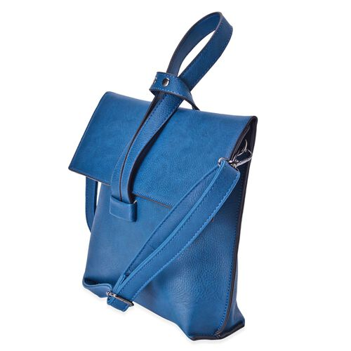 Royal Blue Colour Handbag with Adjustable and Removable Shoulder Strap (Size 24x19.5x6 Cm)