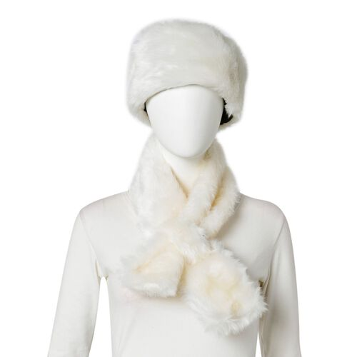 Cream Colour Faux Fur Scarf (Size 88X10 Cm), Cap (Size 29X18 Cm) and Pom Pom Keychain (Size 10 Cm)