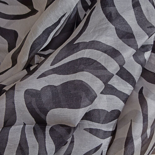 100% Mulberry Silk Black, White and Mustard Colour Zebra Printed Pareo (Size 180x100 Cm)