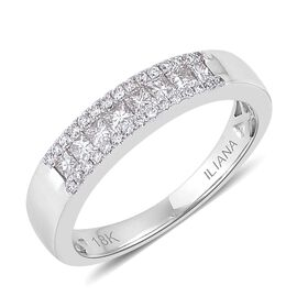 ILIANA 18K White Gold IGI Certified Princess Cut Diamond (SI G-H) Band Ring 0.500 Ct.