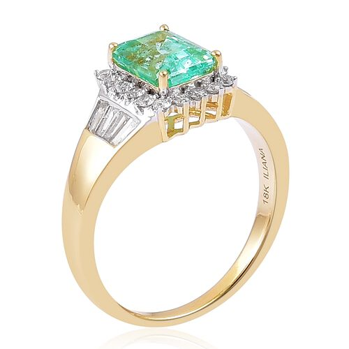 ILIANA 18K Yellow Gold AAA Boyaca Colombian Emerald (Oct 1.75 Ct), Diamond (SI/G-H) Ring 2.250 Ct.