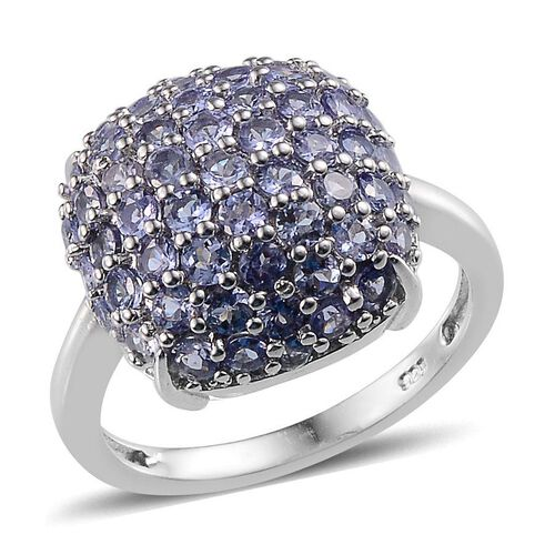 Tanzanite (Rnd) Cluster Ring in Platinum Overlay Sterling Silver 3.250 Ct.