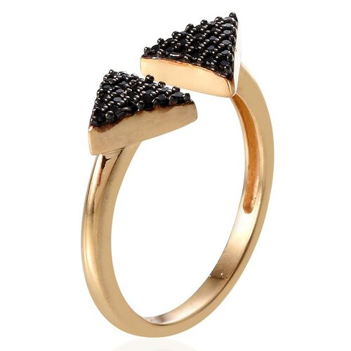 Boi Ploi Black Spinel (Rnd) Ring in 14K Gold Overlay Sterling Silver