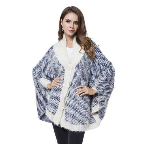 Navy and White Colour Stripes Pattern Cape (Size 112X80 Cm)