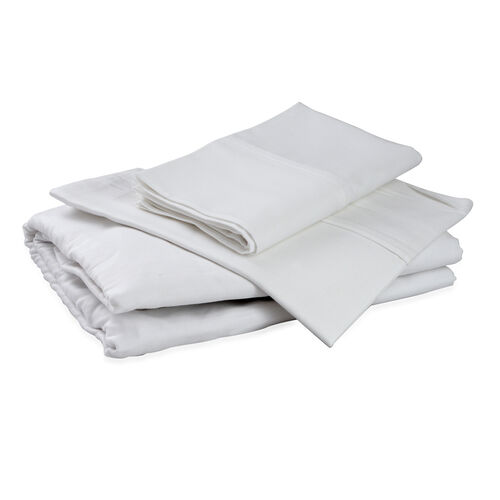 100% Cotton White Colour Double Fitted Sheet (Size 190x135 Cm) and Two Pillow Cases (Size 75x50 Cm)
