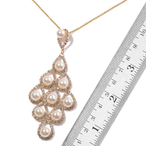 Simulated White Pearl and White Austrian Crystal Pendant With Chain (Size 20) and Earrings (with Push Back) in Gold Tone