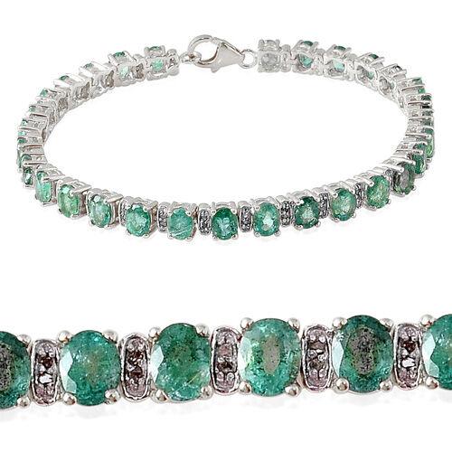 Kagem Zambian Emerald (Ovl), Diamond Bracelet in Platinum Overlay Sterling Silver (Size 7.5) 10.150 Ct.