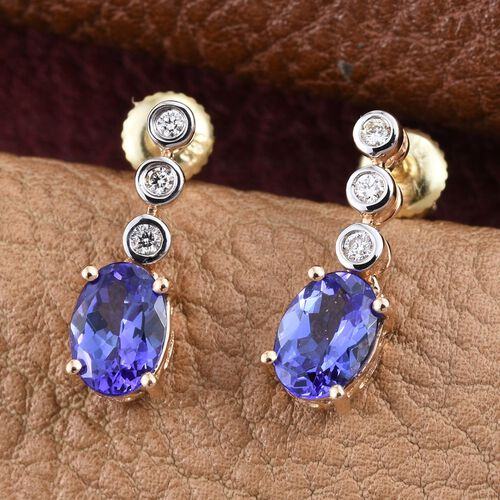 ILIANA 18K Yellow Gold AAA Tanzanite (Ovl), Diamond (SI G-H) Earrings (with Screw Back) 1.750 Ct.