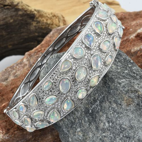 Designer Inspired-Ethiopian Welo Opal Natural Cambodian Zircon Cocktail Bangle (Size 7.5) in Platinum Overlay Sterling Silver 10.00 Ct. Silver wt. 39.80 Gms.