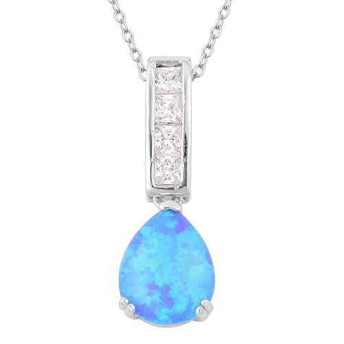 New Concept - AAAA Simulated Ocean Blue Opal and Simulated White Diamond Pendant With Chain in Rhodium Plated Sterling Silver. Silver Weight 6.0 Grams