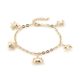 Royal Bali Collection 9K Yellow Gold Oval Link Bracelet (Size 7 with 1 inch Extender) with Octopus, Crab, Lobster Multi Charm, Gold wt 4.65 Gms.