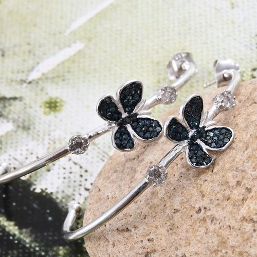 Blue Diamond (Rnd), White Diamond Butterfly Earrings (with Push Back) in Platinum Overlay Sterling Silver 0.500 Ct.